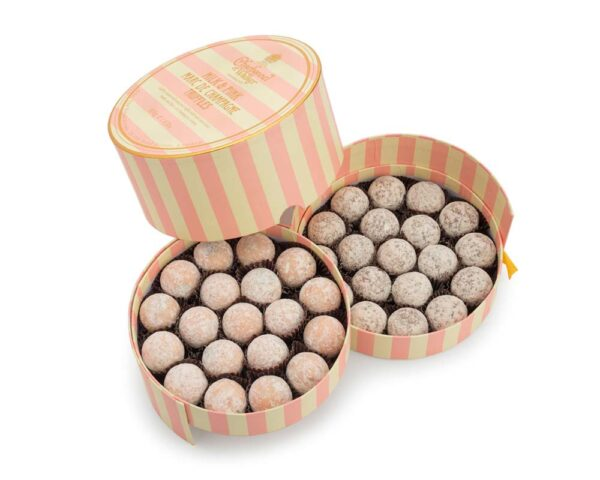 Pink and Milk Marc de Champagne Luxury Striped Truffle Gift Box